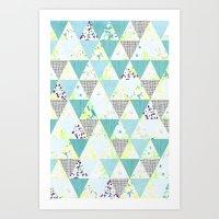 PASTEL NEON GEO FLORALS … Art Print