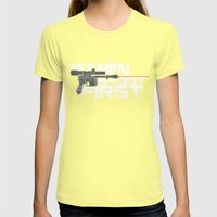 Nice Men Shoot First Womens Fitted Tee Lemon SMALL