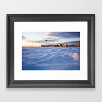 Snowy Coney Island Framed Art Print