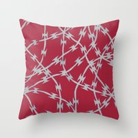 Trapped Red Throw Pillow