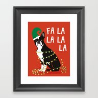 Boston Terrier Elf Chris… Framed Art Print