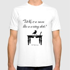 Alice In Wonderland Why Is A Raven Like A Writing Desk SMALL Mens Fitted Tee White