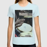 playing bongos Womens Fitted Tee Light Blue SMALL