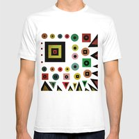 mixed shapes Mens Fitted Tee White SMALL