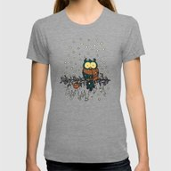 Owl In The Snow V2 Womens Fitted Tee Tri-Grey SMALL