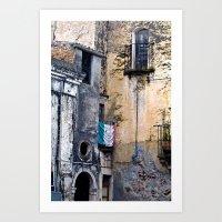 Medieval Sicilian Facade of Forza d'Agro Art Print