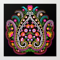 Folk Damask Canvas Print