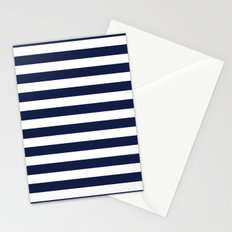 Stripe Horizontal Navy Blue Stationery Cards