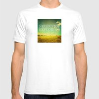 Never Stop Exploring Mens Fitted Tee White SMALL
