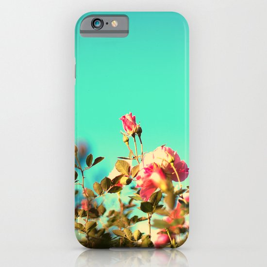 Pink Rose in a Blue Sky ( Colourful and retro nature nature) iPhone & iPod Case