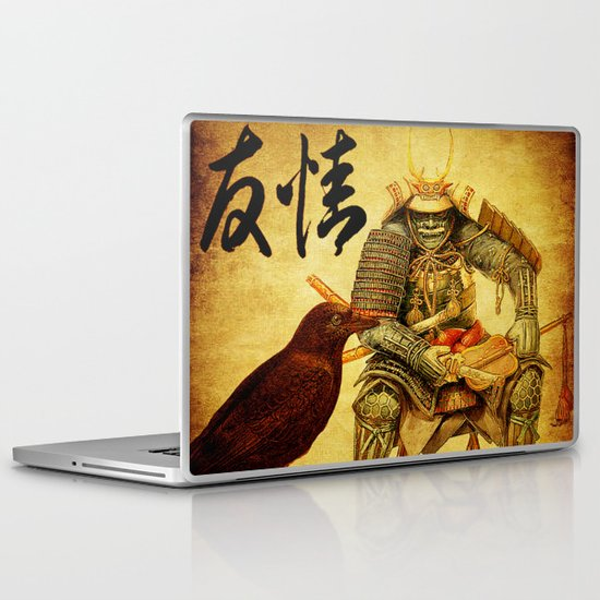 The old samurai and his faithful friendly the crow Laptop & iPad Skin