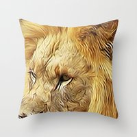 Thirsty Lion Throw Pillow