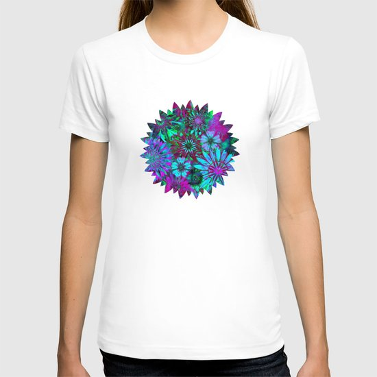 Rivalry of Flowers - green & lilac T-shirt