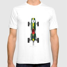 Outline Series N.º1, Jim Clark, Lotus 25-Coventry Climax 1962 Mens Fitted Tee SMALL White