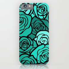 Romantic Turquoise roses with black outline Slim Case iPhone 6s
