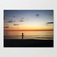 The Sunset Fisherman Canvas Print