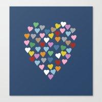 Hearts Heart Navy Canvas Print