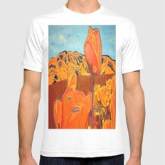 Orange Terrain White SMALL Mens Fitted Tee