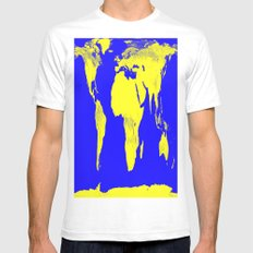 World Map Blue & Yellow Mens Fitted Tee White SMALL