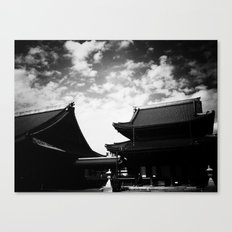 Buddhist Temples Kyoto Japan High Contrast Black and White Photography Canvas Print