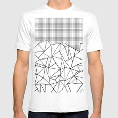 Abstract Outline Grid Black on White SMALL Mens Fitted Tee White
