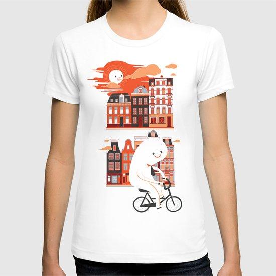 Happy Ghost Biking Through Amsterdam T-shirt