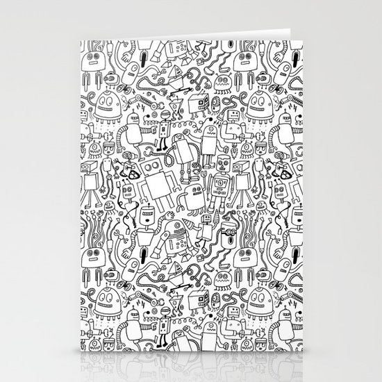 Infinity Robots Black & White Stationery Card