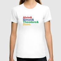 ALVIN&SIMON&THEODORE&DAVE. Womens Fitted Tee White SMALL