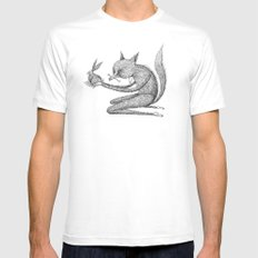 'Offering' - Grey SMALL Mens Fitted Tee White