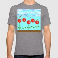 Sunflowers and bee Mens Fitted Tee Tri-Grey SMALL