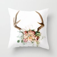 Floral Antlers V Throw Pillow