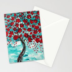 Turquoise Red Design Stationery Cards