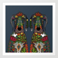 Great Dane love midnight Art Print