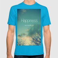 Happiness Surrounds Me Mens Fitted Tee Teal SMALL