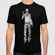 peace sign skeleton Mens Fitted Tee Black SMALL