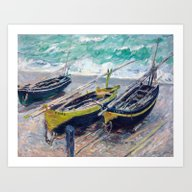 Three Fishing Boats By C… Art Print