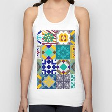 Collage - Blues - Patterns - Colorful - Ethnic Patterns Unisex Tank Top