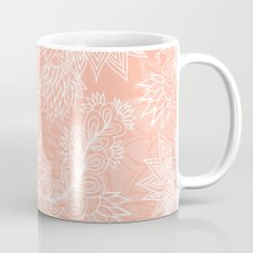 Chic hand drawn floral pattern on pink blush Mug