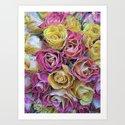 Vintage Paper Roses Art Print