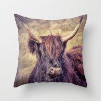 Long Horn Highland Cow Throw Pillow
