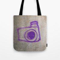 Purple Camera Graffiti Tote Bag
