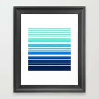 Bay Ombre Stripe: Mint Navy Framed Art Print