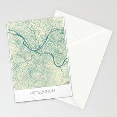 Pittsburgh Map Blue Vintage Stationery Cards