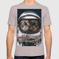 Space Catet Mens Fitted Tee Cinder SMALL