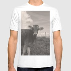 vintage cow SMALL Mens Fitted Tee White