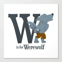 W is for Werewolf Canvas Print