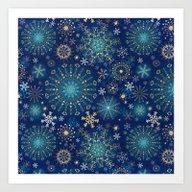 Blue Gold Snowflakes  Art Print