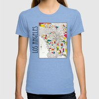 Los Angeles Streets Womens Fitted Tee Tri-Blue SMALL