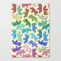 Rhino Patchwork Pattern - rainbow Canvas Print