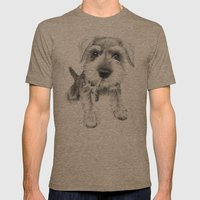 Schnozz the Schnauzer Mens Fitted Tee Tri-Coffee SMALL